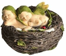 Miniature Garden Sleeping Twin Fairy Babies in Nest 4207 Faerie