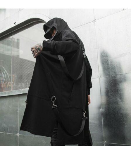 Men Gothic Hooded Jacket Cosplay Irregular Slim Fit Tops Trench Coat Zipper New