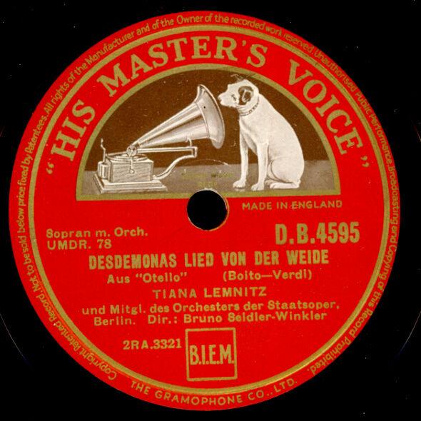 """TIANA LEMNITZ -SOPRAN- """"Otello"""" Desdemonas Lied von der Weide/ Ave Maria   G3677"""
