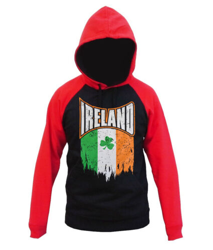 Men/'s Shredded Irish Flag Black Red Raglan Hoodie Ireland Lucky Clover Sweater