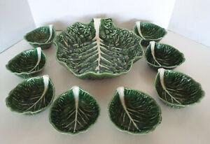 Vintage-Secla-Majolica-Cabbage-Leaf-Salad-Set-9-Piece-Estate-Lot-P1487-Portugal