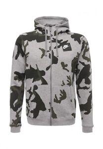 NIKE-Men-039-s-Full-Zip-fleece-Hoodie-Camo-AH7019-063-Grey-Heather-Size-LARGE