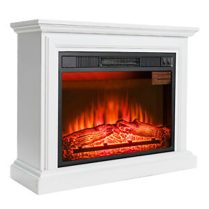 """32"""" Electric Fireplace White Wood Mantel Heater Firebox w/ Red 3D Flame Logs"""