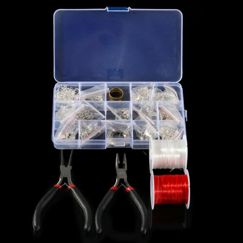 Silver Plated Jewellery Making Starter Kits Beads Pliers Chain Cord Tool Set+Box
