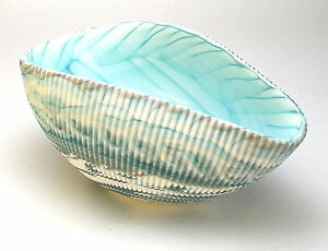 "HOME DECOR - MURANO GLASS DECORATIVE SHELL BOWL - IVORY / TURQUOISE - 7"" x 4.5"""