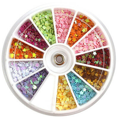 12 Colors Mix Shaped Nail Art Glitter Sequin Tips Decoraion Wheel DIY Manicure
