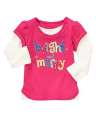 GYMBOREE COLOR HAPPY BRIGHT & MERRY DOUBLE SLEEVE TEE 2T NWT