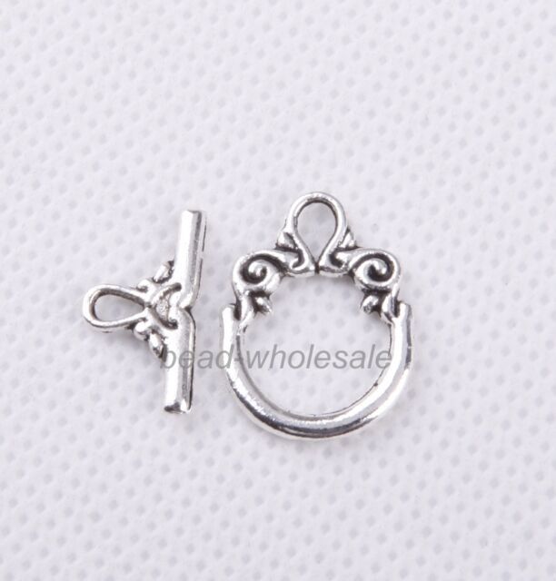 30Sets Tibetan Silver/Gold/Bronze Toggle Clasps Findings For Jewelry DIY