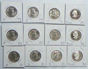 1979 1980 1981 1999 P+D+S+S Susan B Anthony Dollars BU Mint Proof Set Lot of 14