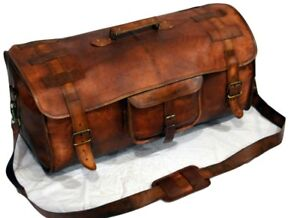 18983a04cc2a Image is loading Brown-Leather-handmade-travel-luggage-vintage-overnight- weekend-