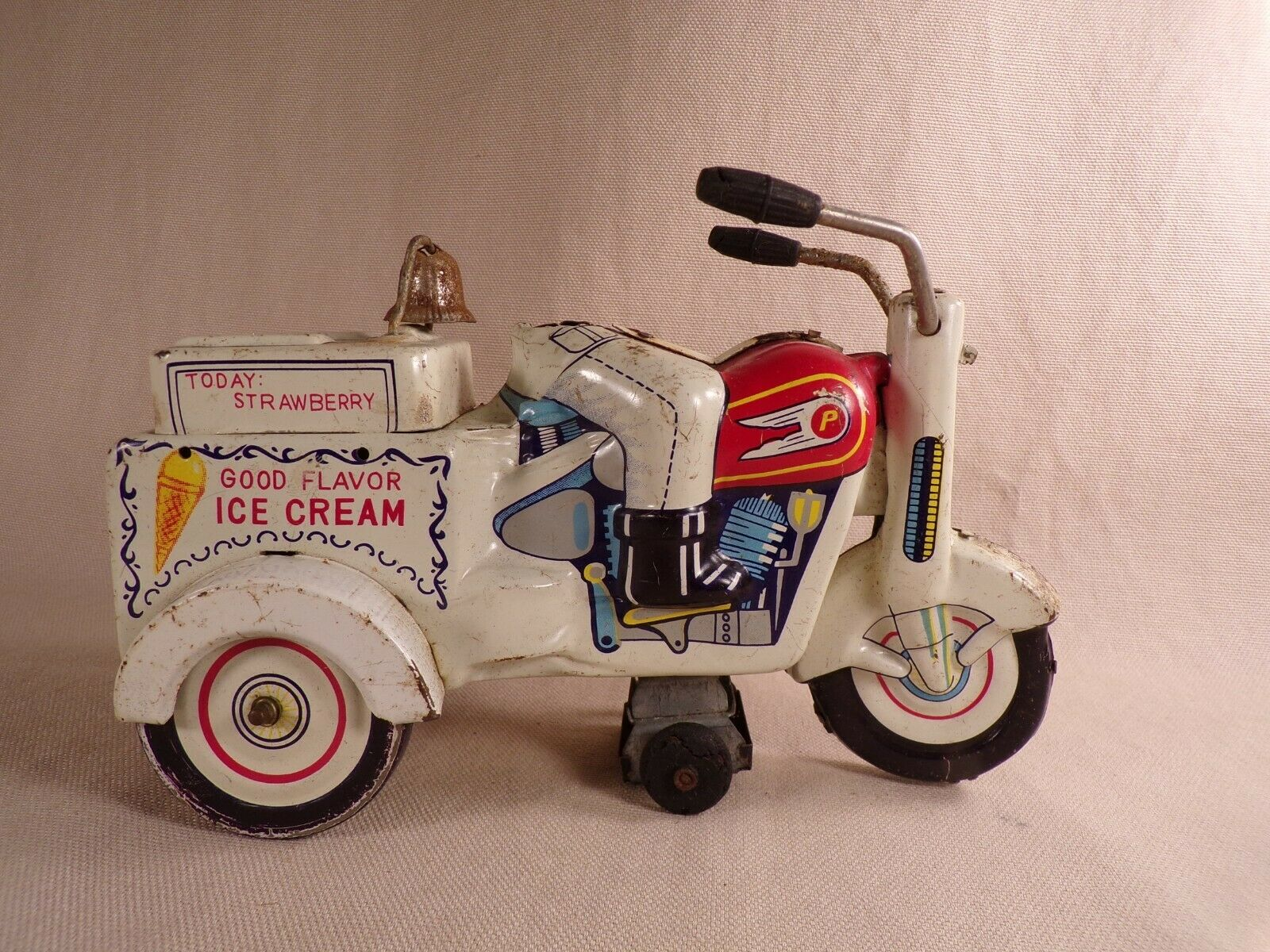 1950's KO Japan Honda Motorcycle Good Flavor Ice Cream Vendor Tin Toy Wind Up