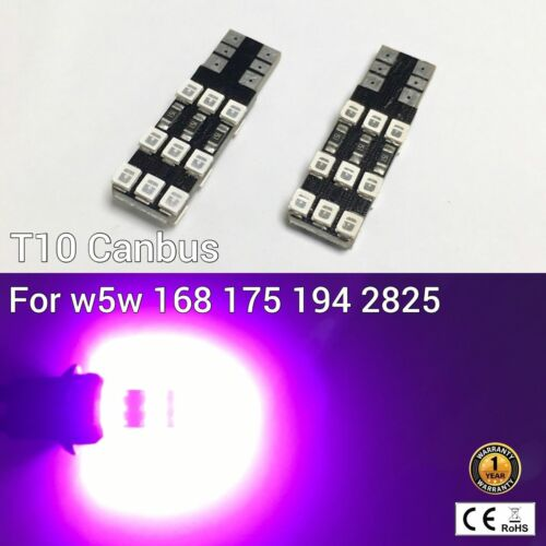 T10 W5W 194 168 2825 License Plate Light Purple 18 Canbus LED M1 For Nissan M