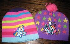 *Lot of 2* MY LITTLE PONY RAINBOW DASH WINTER HATS PURPLE STRIPED STARS - OS 6-8
