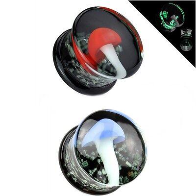 """PYREX GLASS GEM CUT EAR PLUGS DOUBLE FLARE SADDLE GAUGES 2G-5//8/"""" 2 PAIR"""