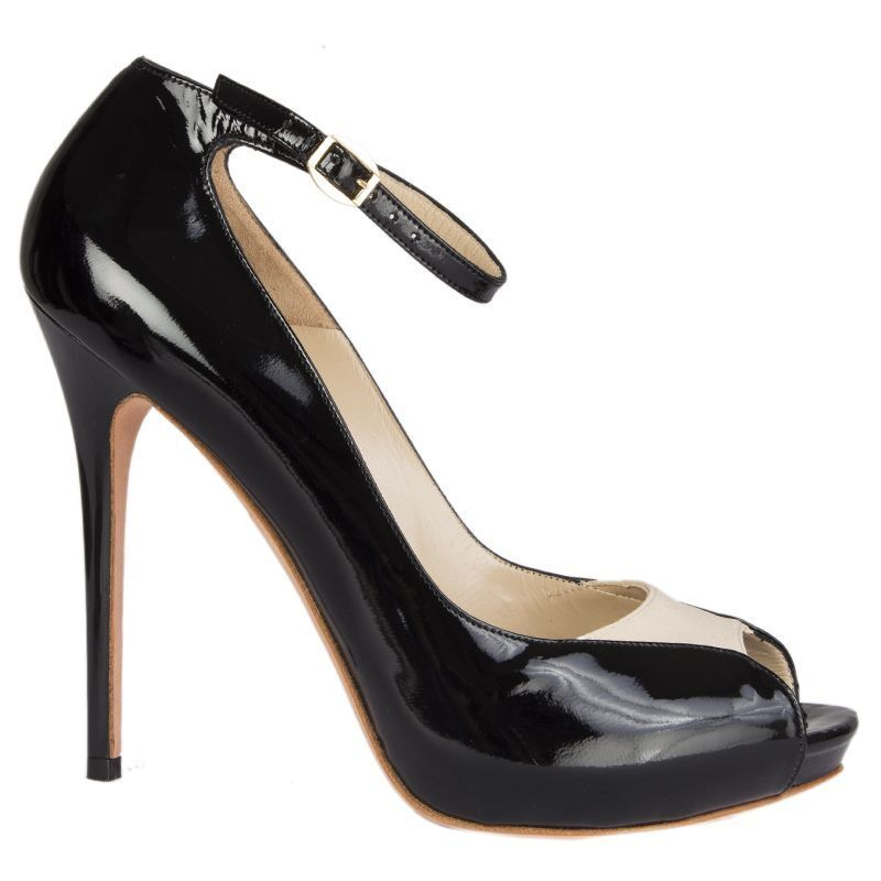54163 auth ALEXANDER MCQUEEN black patent leather LUCY Peep-Toe Pumps shoes 39.5