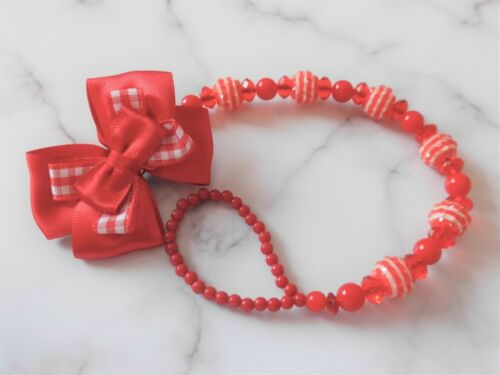 Beautiful Red Stripe Check Shamballa Romany Crystal Bling Baby dummy clip chain