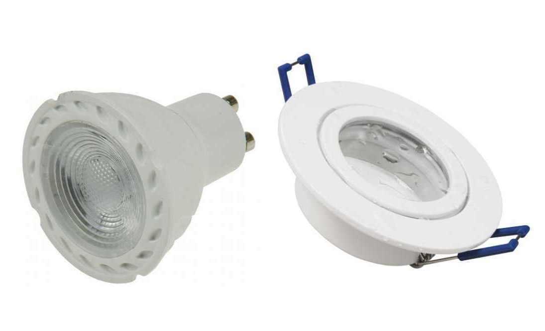 5xLed Feuchtraum Bad Einbaustrahler Spot Lampe weiß+5W rote Led 230V Dekoleuchte