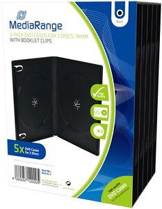 100-Mediarange-DVD-Huellen-2er-Box-14-mm-fuer-je-2-BD-CD-DVD-schwarz