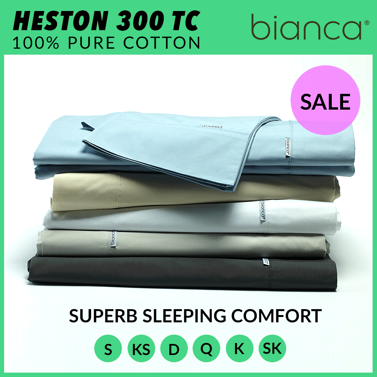 Weiß Heston 300tc 100% Cotton Percale Sheet Set Single Double Queen Super King