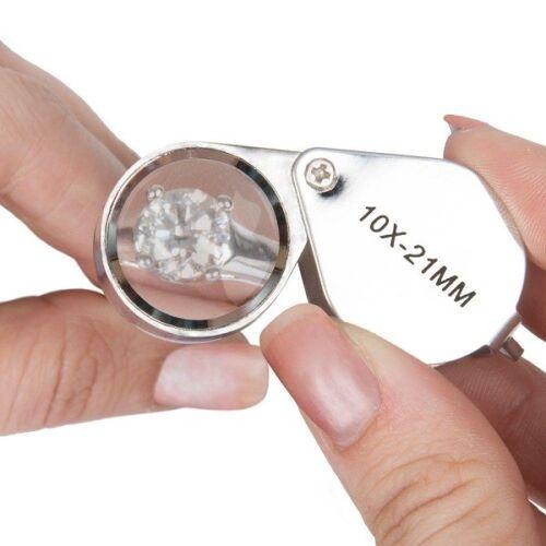 Deluxe//Folding LED Jewelers Loupe 10x-21mm
