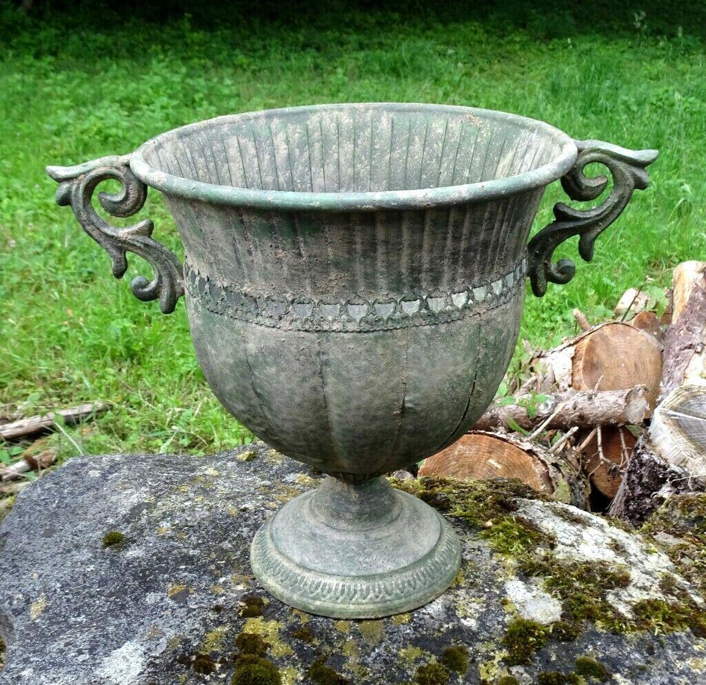 Amphore grün patiniert Pflanzgefäß Blumentopf Nostalgie Gartendeko Schale Pokal