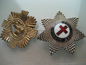 VINTAGE MASONIC ENAMEL AND METAL TEMPLAR STAR & BRITISH ARMY CROSS PIN