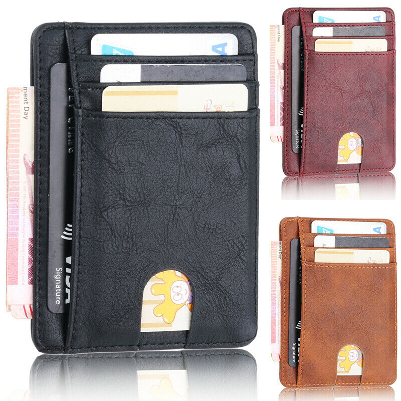 Brown Leather Magnetic Money Clip Credit Card Card Holder Wallet