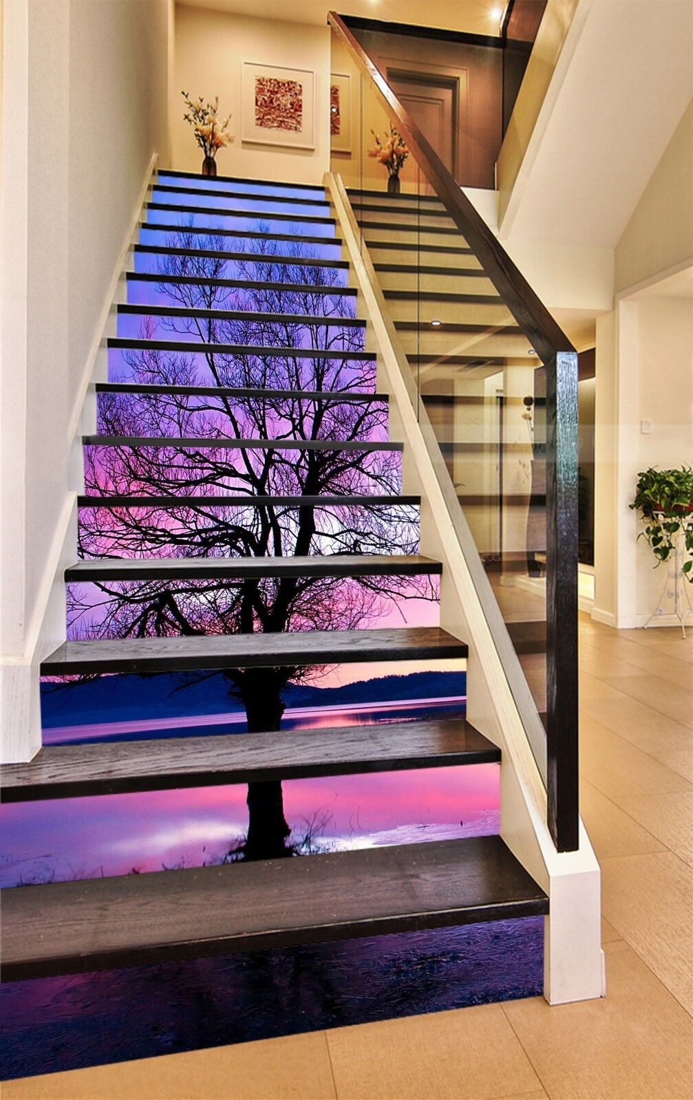 3D Branches River Stair Risers Decoration Photo Mural Vinyl Decal Wallpaper US