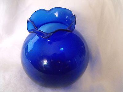 """VINTAGE GLASS RUFFLE VASE - COBALT BLUE - 4"""" - UNMARKED"""