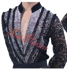 #M245 Men Latin Salsa  Rhythm Dance Competition shirt Black Lace Sleeve XXL