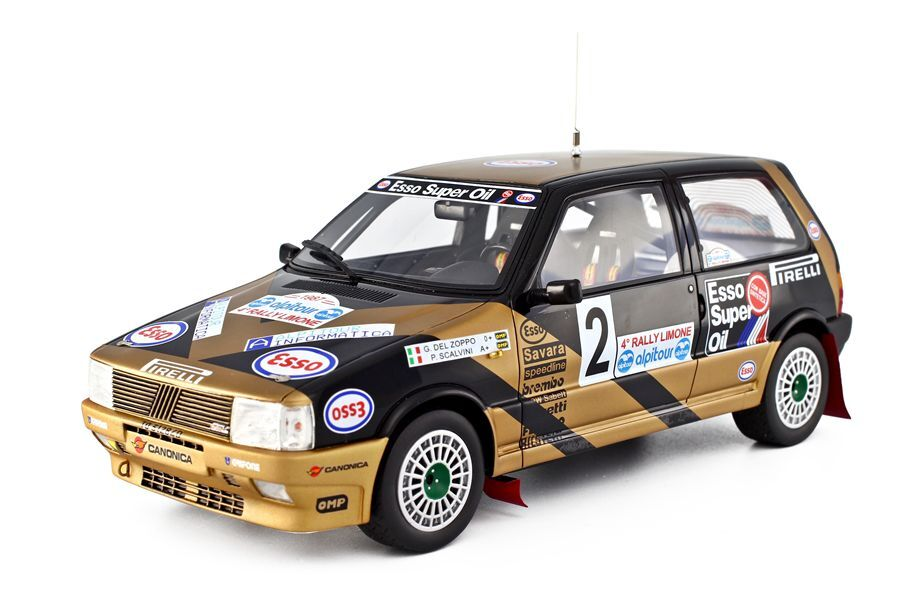RESIN DIE-CAST MODELS FIAT UNO TURBO RALLY LIMONE 1987 1 18 LAUDORACING MODELS