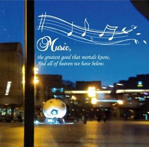 Details about Music Notes Fancy Writing Quotes Mural Wall Art Decals Window  Decoration Sticker