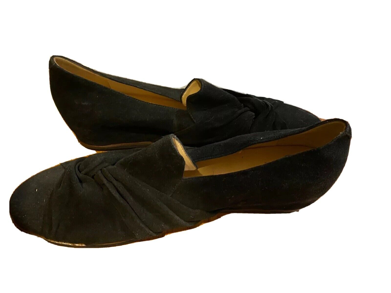 Amalfi 12M black Suede work loafers 1 1/4 patent heel-made in Italy - never worn