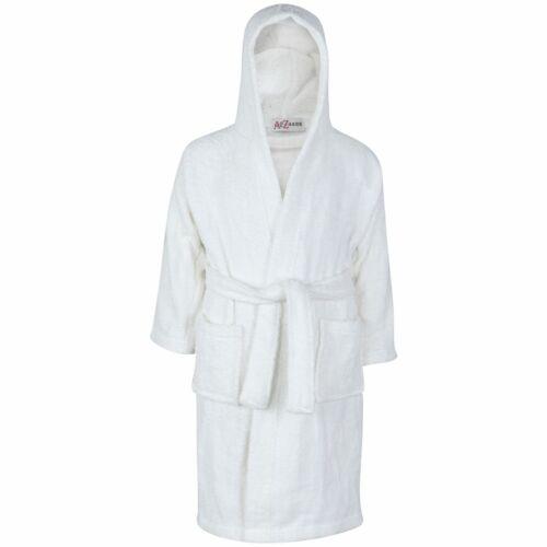 Kids Girls Boys 100/% Cotton Soft White Hooded Bathrobe Luxury Dressing Gown 2-13