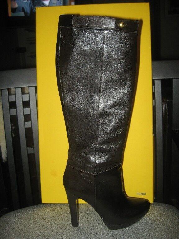 Fendi 110 hasta la rodilla de Alto Plataforma botas De 36.5 Cuero Marrón Oscuro 36.5 De de la UE 9bfc63