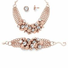 PalmBeach Jewelry Crystal Necklace, Bracelet and Earrings Set Rose Gold-Plated