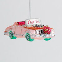Td1468 5 Our 1st Wedding Pink Cadillac Convertible Car Glass Christmas Ornament