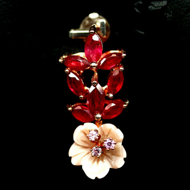 NATURAL PINK RUBY MOTHER FO PEARL & CZ PENDANT 925 SILVER STERLING