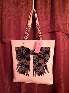 60-OFF-Vintage-Betsey-Johnson-Women-039-s-Flock-A-Bows-Blush-Large-Tote-Handbag-NWT