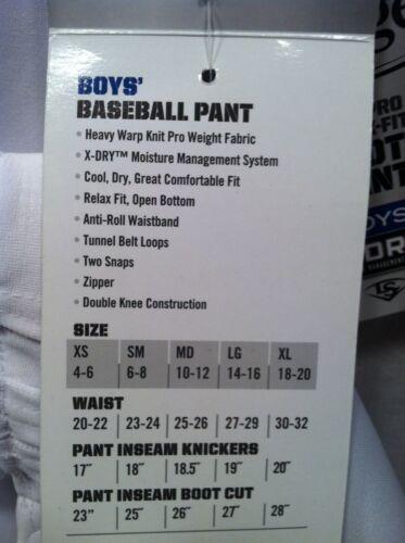 New Boy/'s Louisville Slugger White  Baseball Pant Double Knee Open Bottom