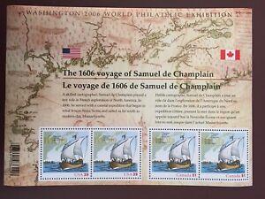 Canada-Stamp-Souvenir-Sheet-2006-52c-CHAMPLAIN-SURVEYS-THE-EAST-COAST-UT-2156