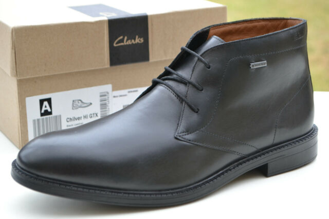 perrito antes de Anterior  Men's BOOTS Clarks Chilver Hi GTX Business Waterproof Black Leather EUR 42  5 for sale | eBay
