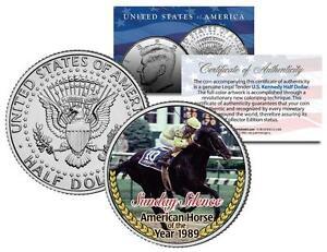 SUNDAY-SILENCE-1989-American-Horse-of-the-Year-Colorized-JFK-Half-Dollar-Coin