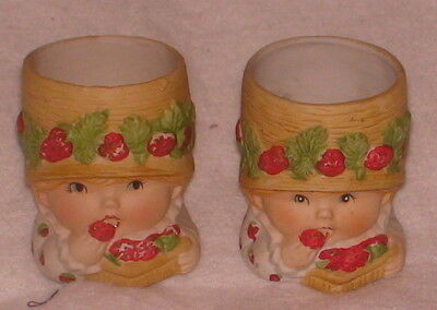 """2 Sweet Keepers Candle Holders Bisque Porcelain Jasco 1980 Strawberries 3.25"""""""