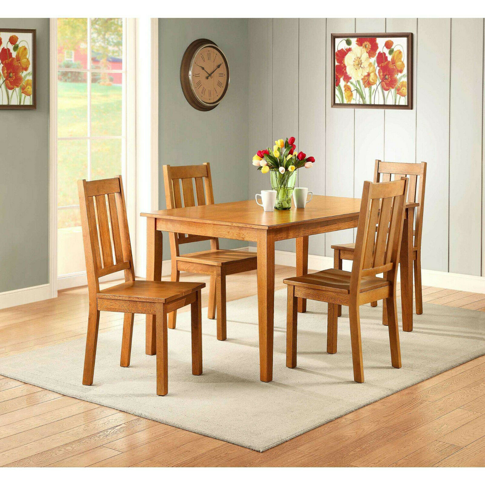 5 Piece Dining Room Table Set For 4 Farmhouse Wooden Kitchen Tables And Chairs For Sale Online Ebay
