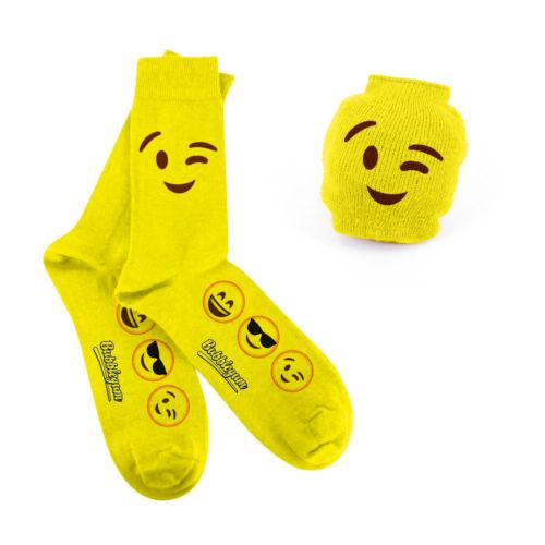 Emoji Socken mit Motiv Zwinkern coole Socke Einheitsgrösse Bubblegum Teenager