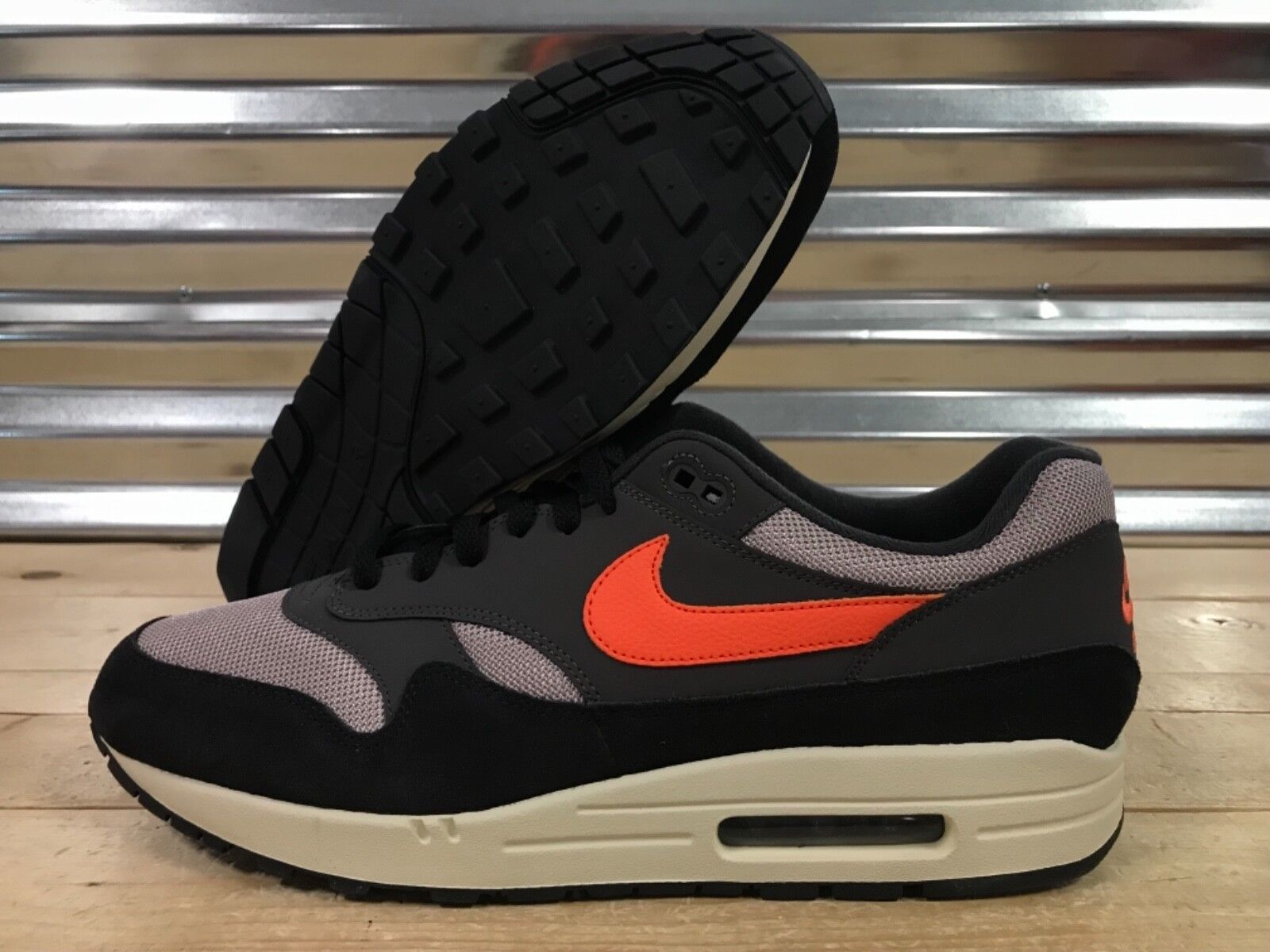 Nike Air Max 1 Running Shoes Oil Grey Tan Wild Mango Orange SZ ( AH8145 004 )