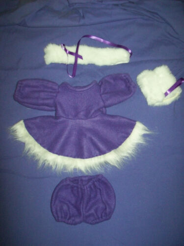 "1517"" CPK Cabbage Patch Kids PURPLE WINTER OUTFIT SKATING DRESS PANTY MUFF+CAP"
