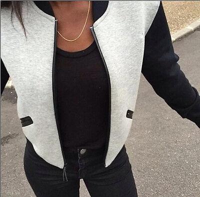 Women BOMBER JACKET COAT Baseball College Casual Sweater Outwear Sweatshirt New