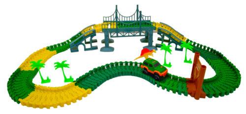 2 Dinosaur Magic Twisting Race Car Track Flexible Bending Dino Slot Car Race Toy
